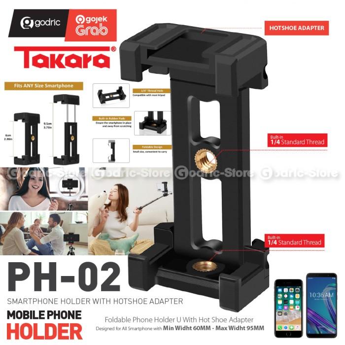Foto Produk Takara PH-02 Foldable Holder Smartphone Cold Shoe LED / Dudukan Mic HP dari Godric Store