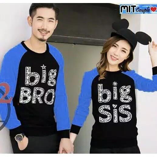 Foto Produk Sweater Couple LP Bro Sis Blue dari Wallsticker shop