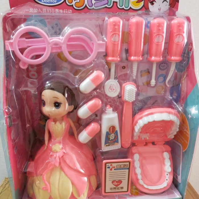 Foto Produk mainan anak pretend play dokter gigi set lengkap dengan Boneka - Merah Muda dari AUTO KID II
