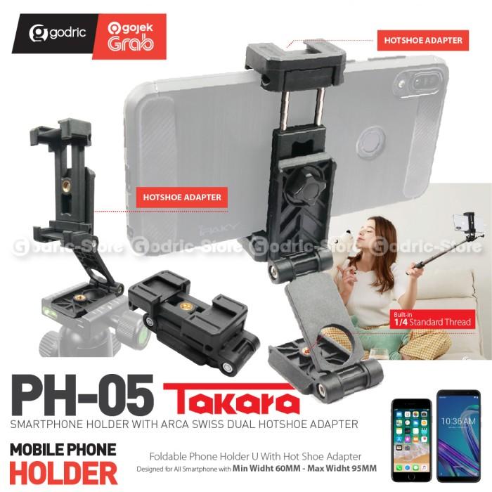 Foto Produk Takara PH-05 Multifungsi Foldable Holder Smartphone w/ 2x Cold Shoe HP dari Godric Store