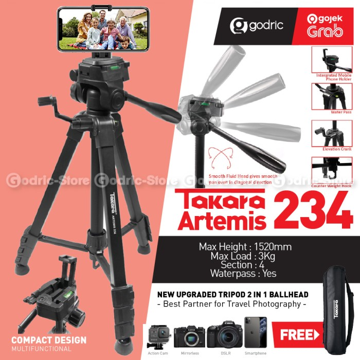 Foto Produk TAKARA ARTEMIS 234 Tripod Fluid Head w/ Built In Phone Holder HP + Bag dari Godric Store