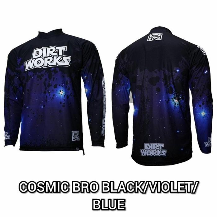 Foto Produk Jerseys Dirtworks COSMIC BRO Black Violet Blue - Jersey Sepeda MTB - S dari Kaligung