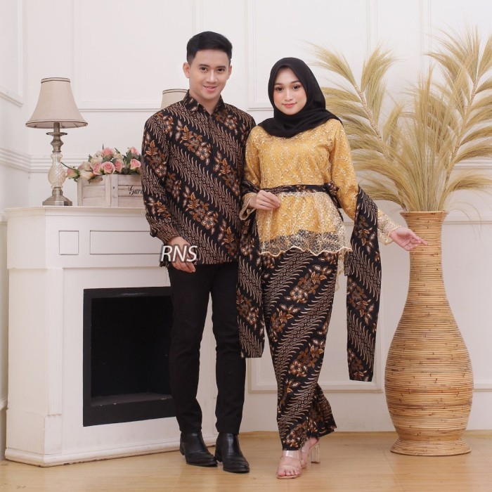 Foto Produk Baju couple rnb brokat batik sarimbit kemeja pria lengan panjang dari TABASAMA