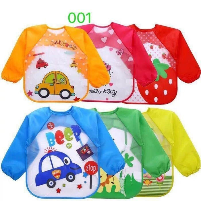 Foto Produk SLB10-Slabber waterproof baju tangan bib celemek anak balita kids GIRL dari LULLABY BABYSHOP