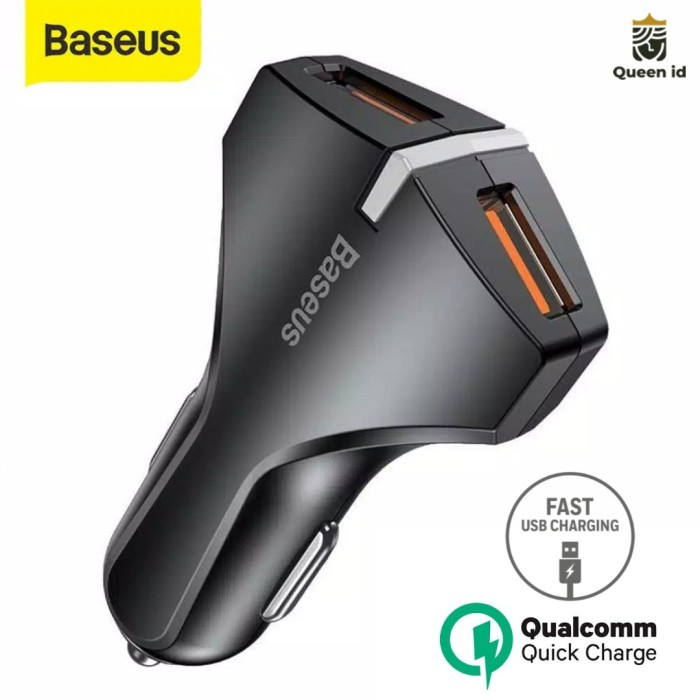 Foto Produk BASEUS Car Charger 3.0 Quick Charge Dual Port / Saver Baseus 3.0 DUAL dari Queen-accessories