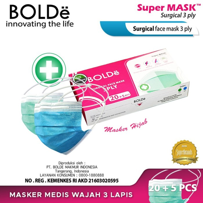 Foto Produk BOLDe Super Mask Surgical Hijab Headloop 3 ply (25 pcs) dari BOLDe Official Store
