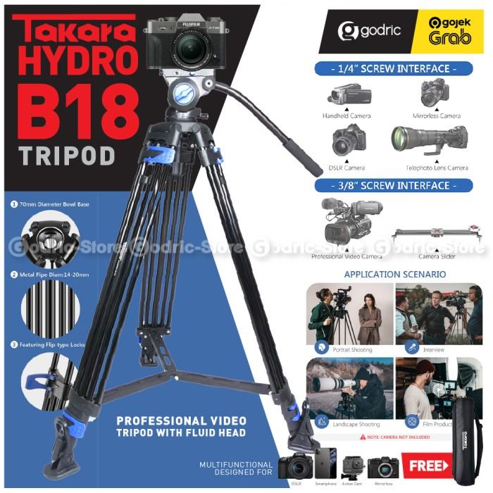 Foto Produk TAKARA HYDRO B18 Professional Photo Video Tripod with Super Fluid Head dari Godric Store
