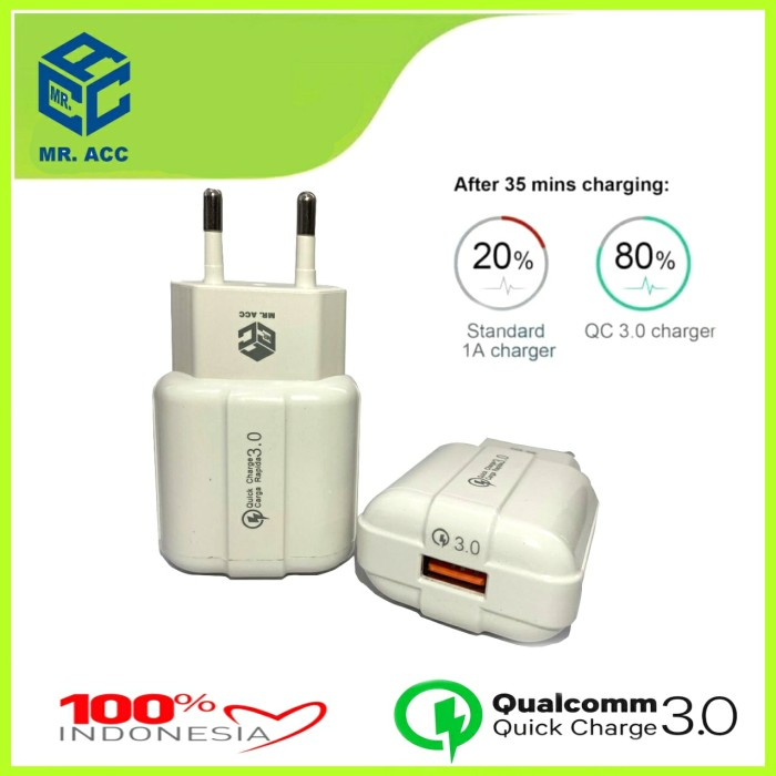 Foto Produk BATOK CHARGER 3A FAST CHARGING - ADAPTOR CHARGER QUICK CHARGE MR.ACC dari BenuaCell
