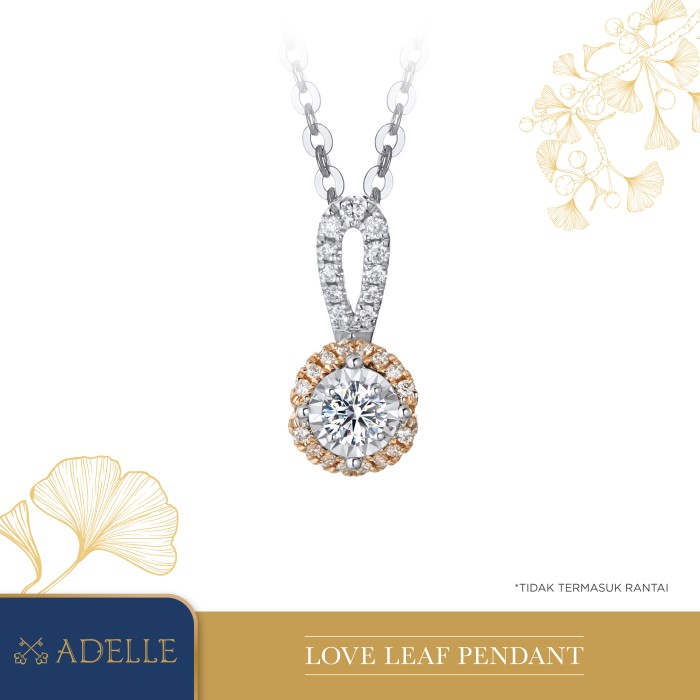 Foto Produk Adelle Jewellery - Love Leaf Diamond Pendant - Liontin Berlian - Two Tone dari Adelle Jewellery