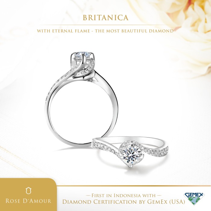 Foto Produk Adelle Jewellery - Britanica Diamond Ring - Cincin Berlian - White Gold, 5-15 dari Adelle Jewellery