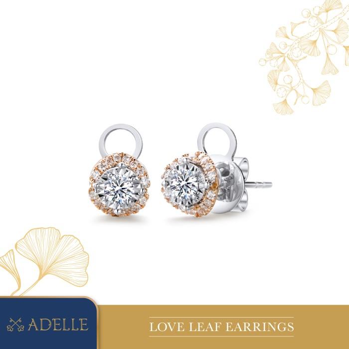 Foto Produk Adelle Jewellery - Love Leaf Diamond Earrings - Anting Berlian - Two Tone dari Adelle Jewellery