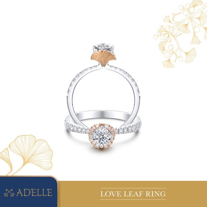 Foto Produk Adelle Jewellery - Love Leaf Diamond Ring - Cincin Berlian - Two Tone, 5-15 dari Adelle Jewellery