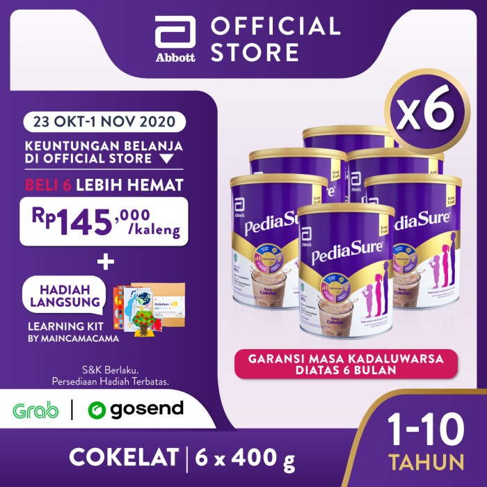 Foto Produk Pediasure Coklat 400 g (1-10 tahun) Susu Formula Pertumbuhan - 6 klg dari Abbott Official Store