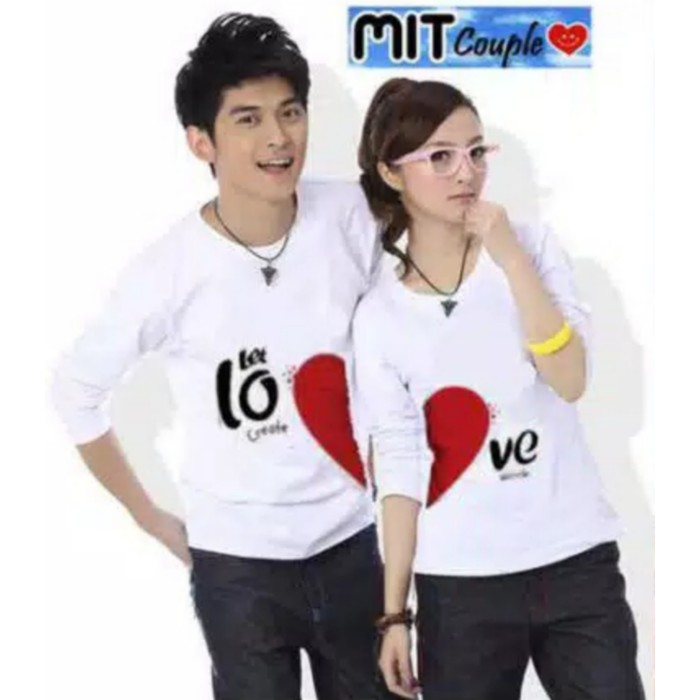 Foto Produk Kaos Couple Let Love Putih Lp dari Wallsticker shop