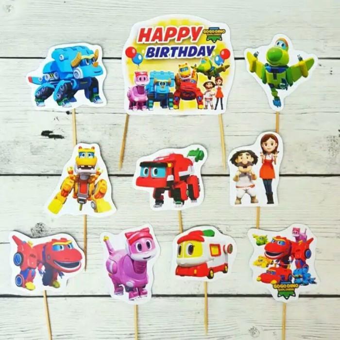 Foto Produk satu set topper toper cake hiasan kue ulang tahun karakter Gogo Dino dari recht shop
