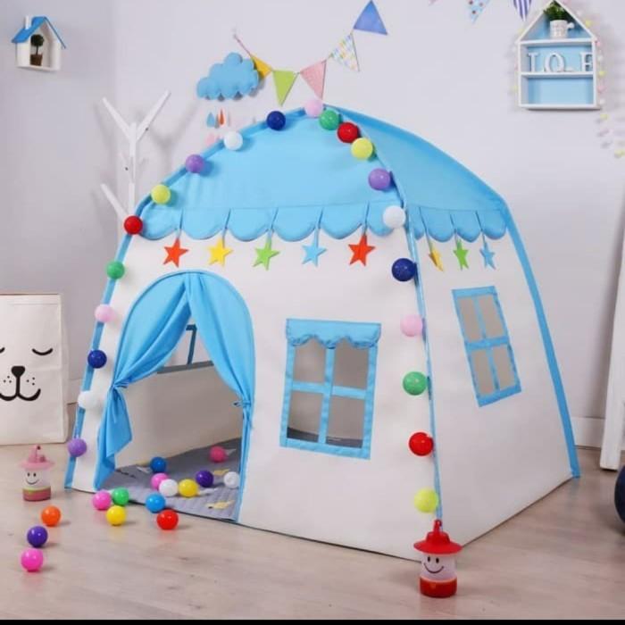 Foto Produk Tenda Anak MOdel Rumah RS66 BIRU Tenda Bermain Princess Castle Outdoor dari ANEKA MAINAN ONLINE