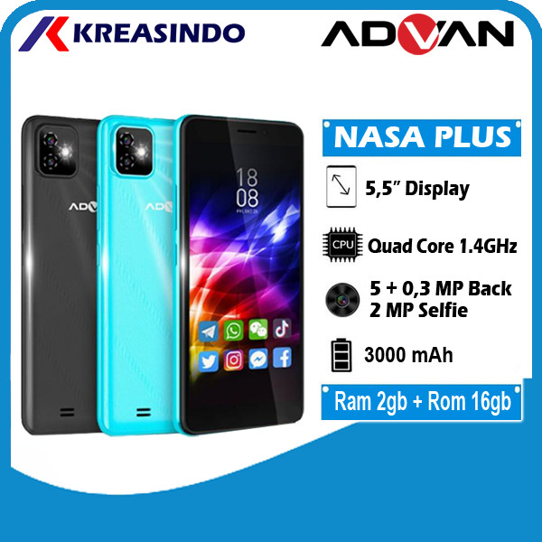 Foto Produk Advan Nasa Plus 2/16 Ram 2gb Internal 16gb Garansi Resmi - Hitam dari Kreasindo Online
