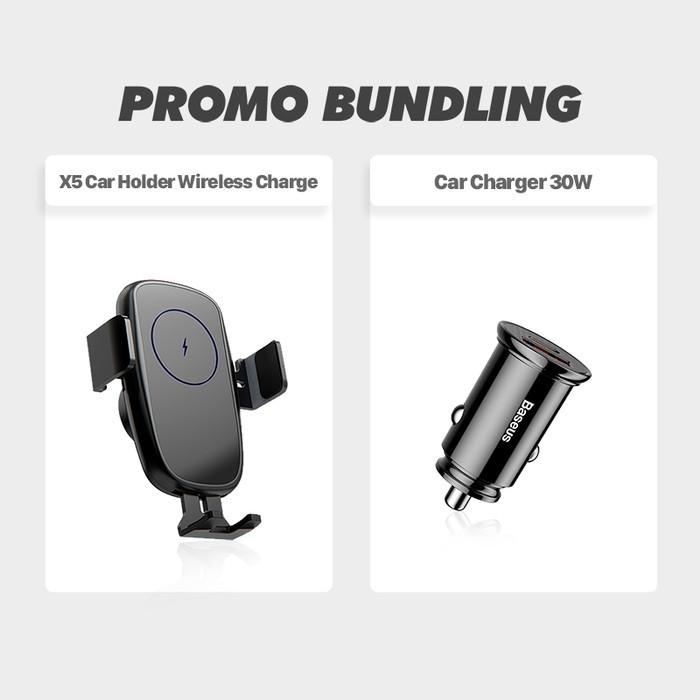 Foto Produk BASEUS BUNDLING:CAR CHARGER BASEUS 30W TYPE C & KIIP X5 CAR HOLDER 15W - PAKET HEMAT dari Baseus Official Store