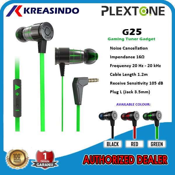 Foto Produk Plextone G25 In Ear Gaming Earphone Headset Noise Canceling Original - Hitam dari Kreasindo Online