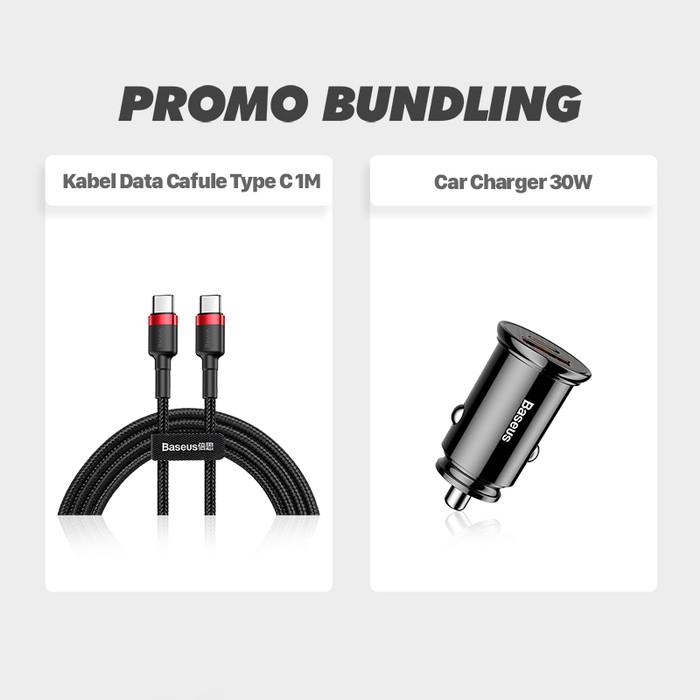 Foto Produk BASEUS BUNDLING: KABEL DATA TYPE-C TO TYPE-C & CAR CHARGER PD3.0 USB - Hitam dari Baseus Official Store