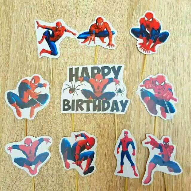Foto Produk satu set topper toper cake hiasan kue ulang tahun karakter spiderman dari recht shop