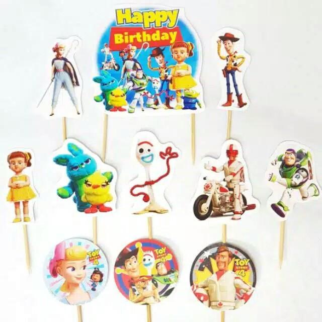 Foto Produk satu set topper toper cake hiasan kue ulang tahun karakter toy story dari recht shop