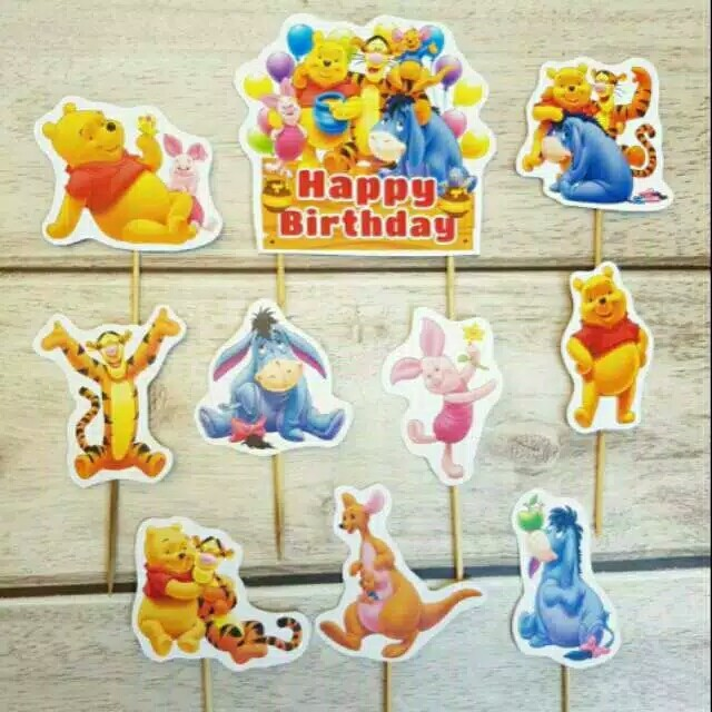 Foto Produk satu set topper cake hiasan kue ulang tahun karakter Winnie the pooh dari recht shop