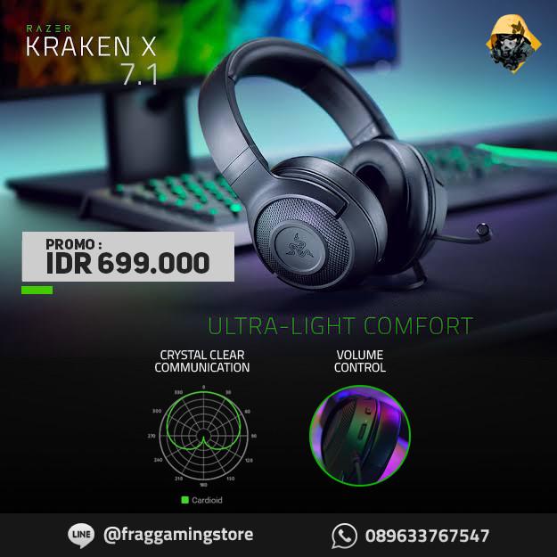Foto Produk Razer Kraken X Multi Platform Ultralight 7.1 Surround Gaming Headset dari FRAG GAMING STORE