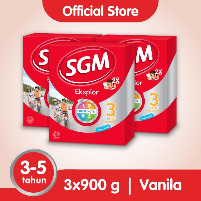 Foto Produk Paket 3 - SGM Eksplor 3 Plus Susu Pertumbuhan 3-5 Thn Vanila 900g dari SGM Official Store