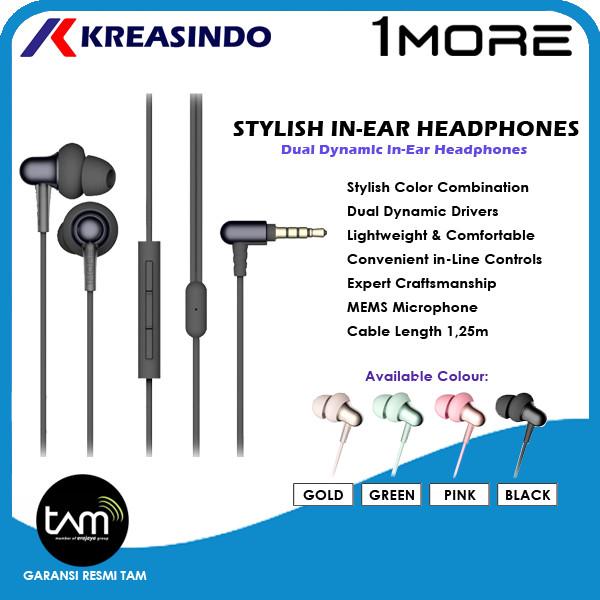 Foto Produk 1More Stylish In Ear Headphones Earphones Garansi Resmi Tam - Hitam dari Kreasindo Online