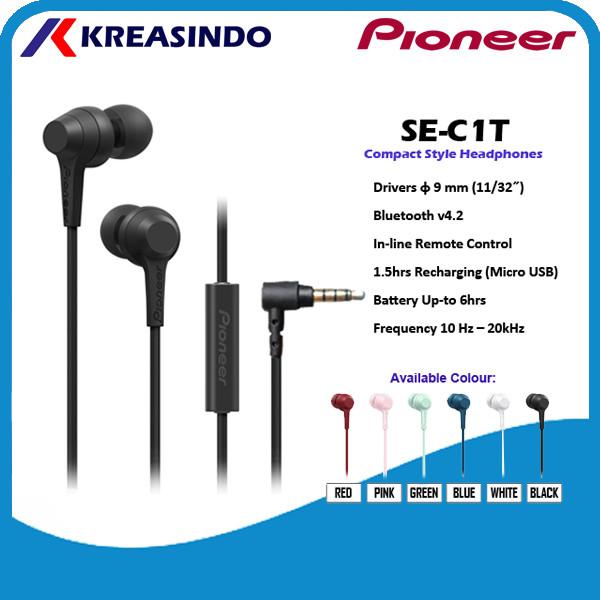 Foto Produk Pioneer SE-C1T / SE C1T /SEC1T In Ear Earphone Headset Garansi Resmi - Hitam dari Kreasindo Online