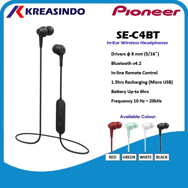 Foto Produk Pioneer SE-C4BT / SE C4BT In Ear Wireless Bluetooth Earphone Headset - Putih dari Kreasindo Online