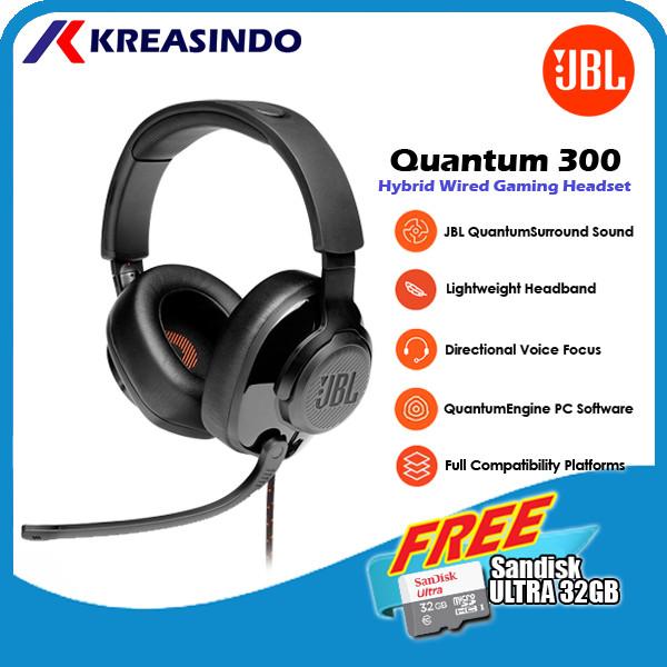 Foto Produk JBL Quantum 300 / Q300 Wired Over-Ear Gaming Headset Headphone Resmi - Hitam dari Kreasindo Online
