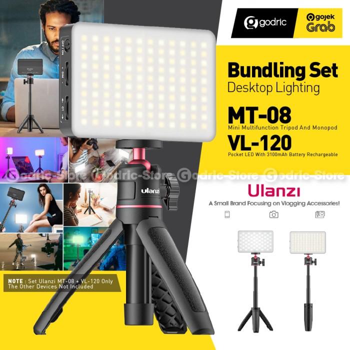 Foto Produk ULANZI SET DESKTOP Selfie Vlog / Video Conference MT-08 + VL120 LED dari Godric Store