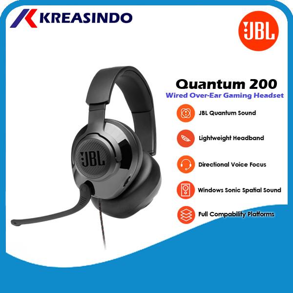 Foto Produk JBL Quantum 200 / Q200 Wired Over Ear Gaming Headset Headphone Resmi - Hitam dari Kreasindo Online