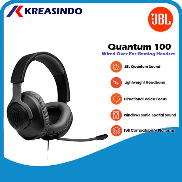 Foto Produk JBL Quantum 100 / Q100 Wired Over Ear Gaming Headset Headphone Resmi - Hitam dari Kreasindo Online