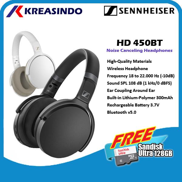 Foto Produk Sennheiser HD 450BT Noise Canceling Wireless Bluetooth Headphones - Hitam dari Kreasindo Online