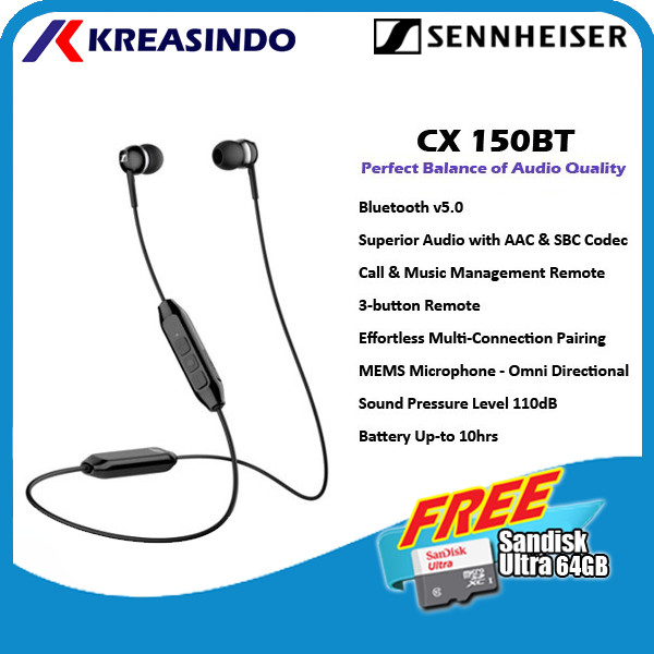 Foto Produk Sennheiser CX 150BT CX150BT In Ear Wireless Earphone Garansi Resmi - Hitam dari Kreasindo Online