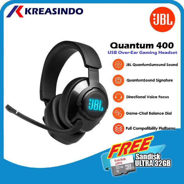 Foto Produk JBL Quantum 400 / Q400 Wired Over Ear Gaming Headset Headphone Resmi - Hitam dari Kreasindo Online