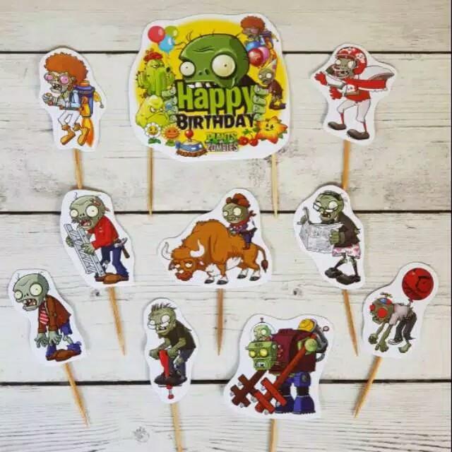 Foto Produk satu set topper cake hiasan kue ulang tahun karakter zombie vs plants dari recht shop