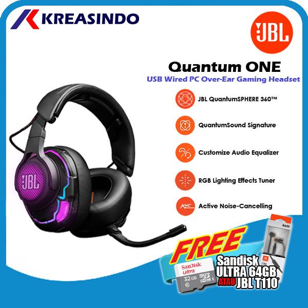 Foto Produk JBL Quantum One / Qone Pro Gaming Headset Headphone Resmi - Hitam dari Kreasindo Online