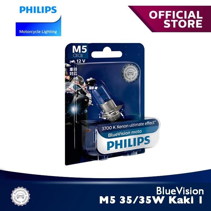 Foto Produk BlueVision 35/35W-1 M5 Kaki 1 3700K 12153BVB1 Bola Lampu Motor Philips dari Philips Moto