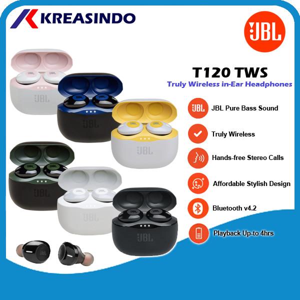 Foto Produk JBL T120 TWS / T120 TWS / T 120 TWS True Wireless Bluetooth Earphone - Putih dari Kreasindo Online