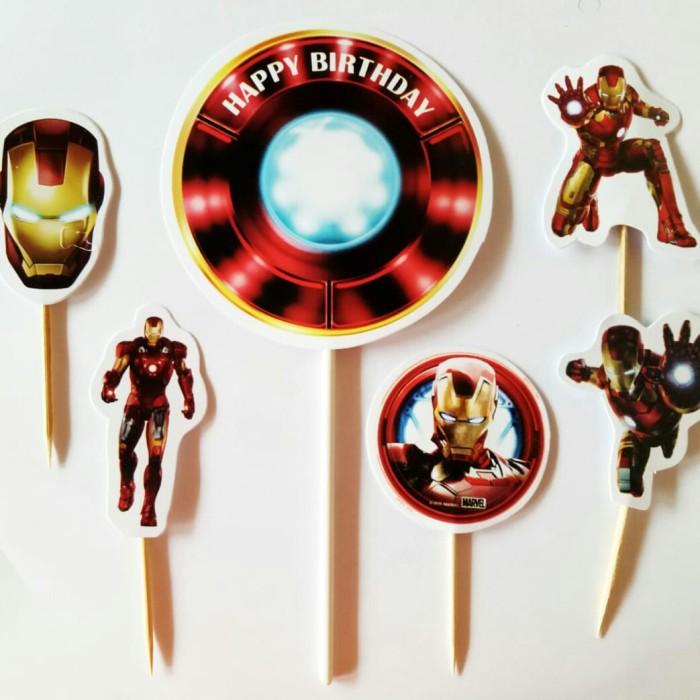 Foto Produk topper cake hiasan kue ulang tahun isi 6 karakter Ironman iron man dari recht shop
