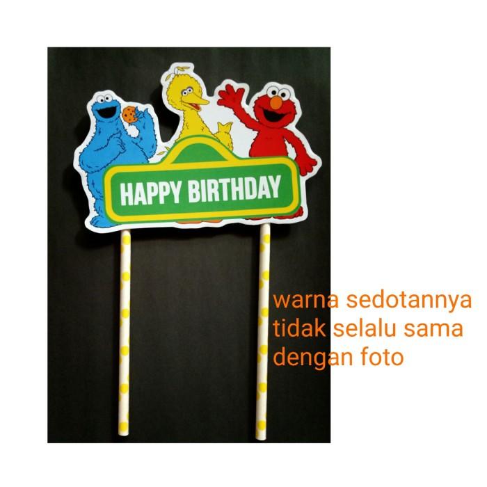 Foto Produk topper cake sedotan hiasan kue ulang tahun karakter sesame street dari recht shop