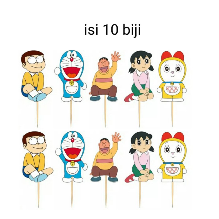Foto Produk satu set topper cake hiasan kue ulang tahun karakter Doraemon dari recht shop