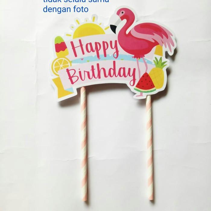 Foto Produk topper toper cake hiasan kue ulang tahun karakter flamingo flaminggo dari recht shop