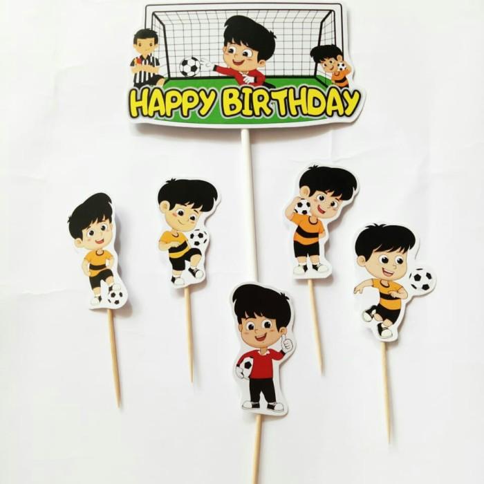 Foto Produk satu set topper toper cake hiasan kue ulang tahun karakter sepakbola dari recht shop