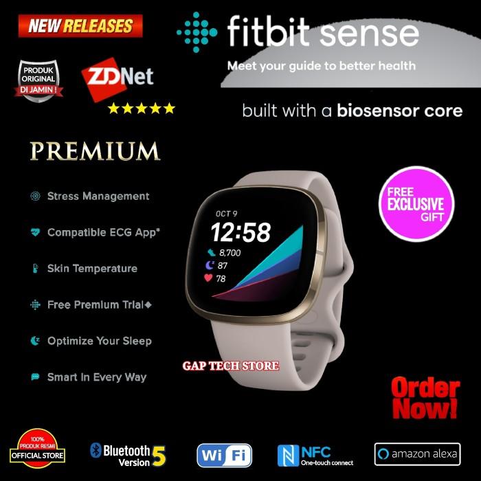 Foto Produk FITBIT SENSE Premium Advanced Health Smartwatch Original - Lunar White dari GAP TECH STORE