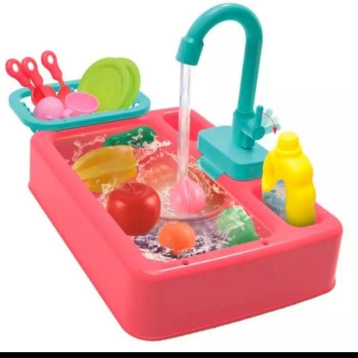 Foto Produk mainan pretend simulasi mencuci piring dan buah wastafel elektrik dari AUTO KID II